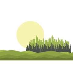 Silhouette of city and moon vector