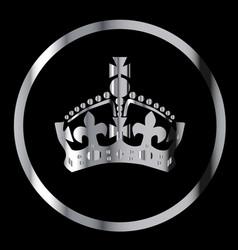 Silver crown emblem vector