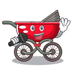 Singing baby sitting in a baby stroller cartoon vector