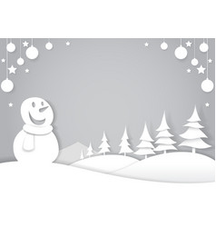 Snowman in winter forest cut paper art style vector