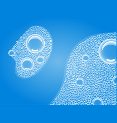 Soap bubbles in bath or sud transparent foam on vector