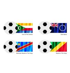 Soccer ball of comoros cook islands and congo vector