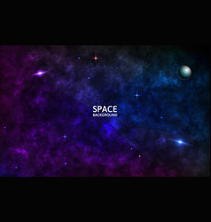 space background with galaxy shining stars and vector image