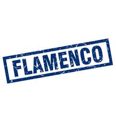 Square grunge blue flamenco stamp vector