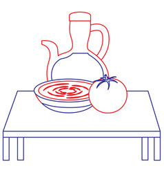table with bowl soup and tomato bottle oil kitchen vector image