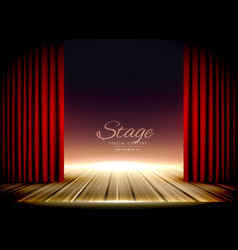 theater stage with red curtains and wooden floor vector image