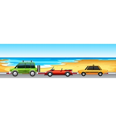 Three cars parking by the beach vector