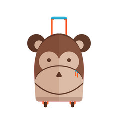 traveling kid suitcase with monkey face vector image