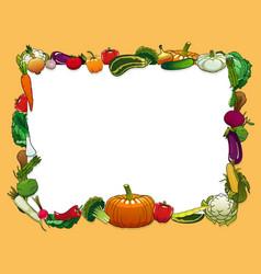 vegetables and farm veggies frame vector image