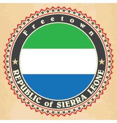 Vintage label cards of Sierra Leone flag vector image