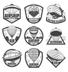 Vintage monochrome airship labels set vector
