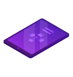 Violet tablet icon isometric style vector