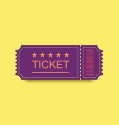 violet ticket icon with shadow on yellow vector image