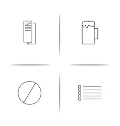 Web applications simple linear icons set outlined vector