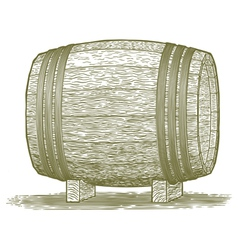 Woodcut Whiskey Barrel vector