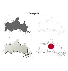 Yamaguchi blank outline map set vector