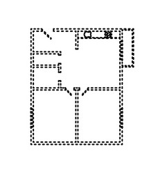 apartment house floor plans black dashed vector image