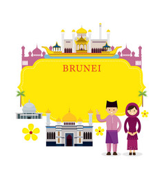 brunei landmarks people in traditional clothing vector image vector image