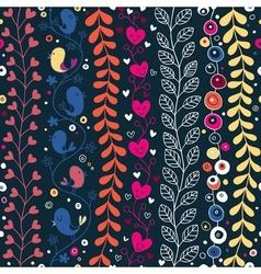cute hearts birds flowers floral pattern vector image vector image