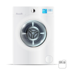 Front load white washing machine isolated on a vector