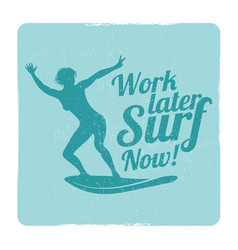 grunge summer surfing sports logo with girl vector image