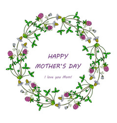 happy mothers day card spring wreath with flowers vector image vector image