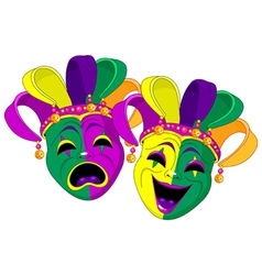 mardi gras comedy and tragedy masks vector image vector image
