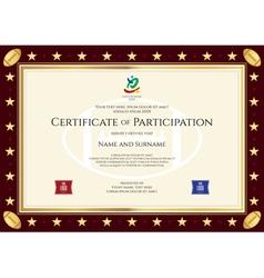 Sport theme certification participation template vector