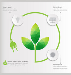 three steps green geometric ecology infographics vector image vector image