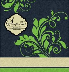 vintage green floral wedding invitation card vector image vector image