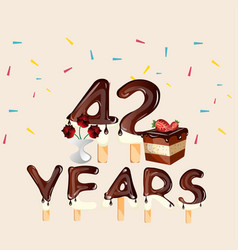42 years happy birthday card vector image vector image