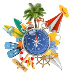 Beach Concept with Compass vector image vector image