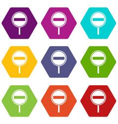 no entry sign icon set color hexahedron vector image