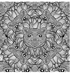 seamless pattern with a lion heads on a white vector image