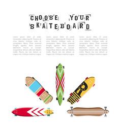 skateboard flat vector image vector image