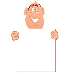 smiling man with sign vector image vector image