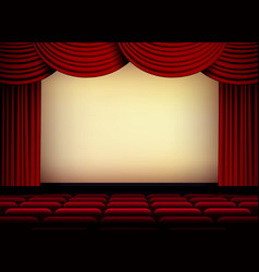 theater or cinema auditorium screen with red vector image vector image