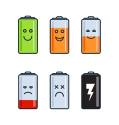 Battery indicator icons vector image vector image