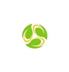 circle leaf bio organic technology logo vector image