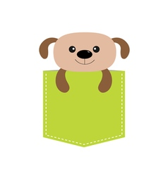 Dog in the pocket Cute cartoon character Dash line vector image vector image