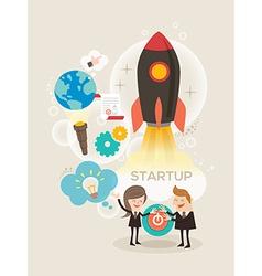 Start up business concept idea rocket launch vector image vector image