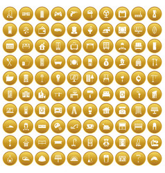 100 comfortable house icons set gold vector image vector image