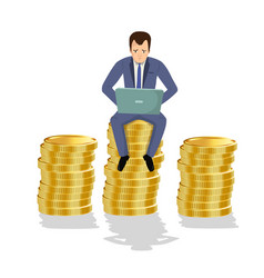 businessman sitting on gold coins concept of vector image