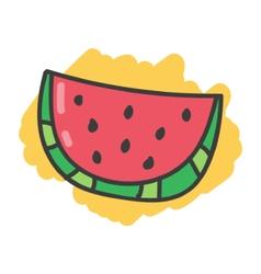 Cartoon doodle slice of watermelon vector image