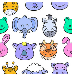 colorful various animal doodle style vector image vector image
