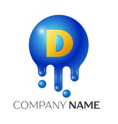 D letter splash logo blue dots and bubbles letter vector