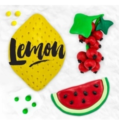 Plasticine fruits lemon vector image