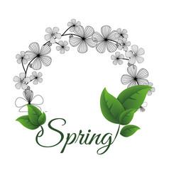 spring flower wreath leaves vector image