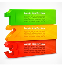 Three colored number banners vector image vector image