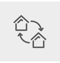 Two little houses thin line icon vector image